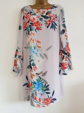 NEW Wall*s 10-20 Fluted Sleeve Grey Floral Print Chiffon Shift Tunic Dress Top