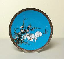 """Unusual 19th C. Japanese Cloisonne Enamel 12"""" Charger with Playful Puppies"""