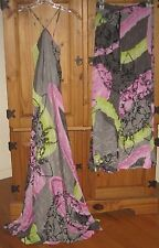 Analili Women's Dress Maxi Pants Set Halter Silk Gray Print size Small