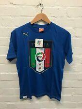Puma Italy Kids FIGC Italia Logo T-Shirt - Blue - New