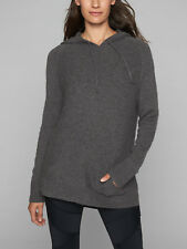 ATHLETA $228 Charcoal Grey Heather 100% Cashmere Hoodie Beyond Soft NWT sz 16 XL