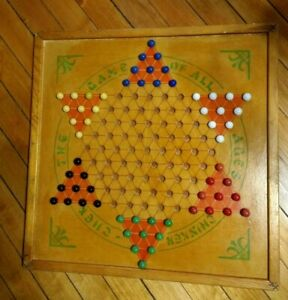 Vintage Chinker Chek Brown Chinese Checkers Game Board 1937 with 60 Marbles