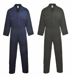 Portwest Euro Work Cotton Coverall Overall Side Elastic Pocket Stud Front S998