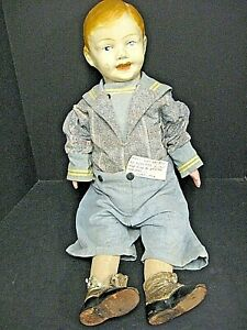 """BIG 30"""" Antique Carnival Doll -Baby Boy Child Toddler Leather Shoes Straw Filled"""