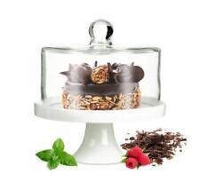 Kuchenglocke Käseglocke Fuß aus Porzellan Glasglocke Tortenplatte Kuchenplatte