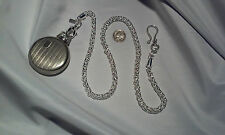 "NEW HAND-MADE SILVER PLATED POCKET WATCH CHAIN: 4URBELT 20"" X 6mm WHEAT LINK"