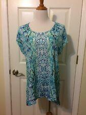 NWT Chico's Wild Tile Kaylee Top Blouse Shirt 2 (12-14) Large Aqua Green