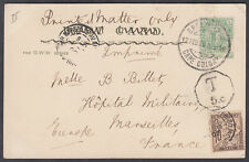 1902 Postage Due Postcard Cape of Good Hope: Military Hospital,Marseilles,France