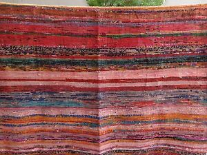 Hand Loomed Rag Rug Runner 4x6 Indian Carpet Vintage Throw Chindi Yoga Mat