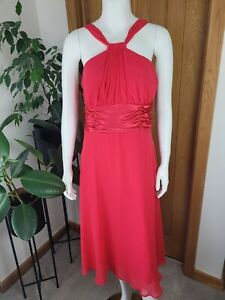 Connected Apparel UK 12 Bright Pink Dress Empire Waist Midi Length Wedding Guest
