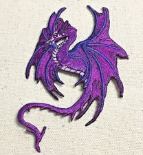 Iron On Embroidered Applique Patch - Mythical Fantasy Dragon Purple Facing Left