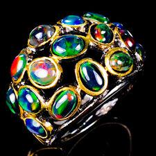 Vintage Natural Black Opal 925 Sterling Silver Ring Size 8.5/R120831