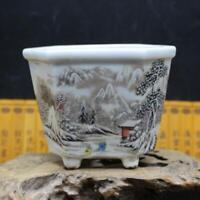 "4.6"" Collect Chinese Porcelain Colour Snow-covered Landscape Hexagon Flowerpot"