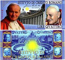 CREDITO ROMANO 4 PAPES 4 LIRE ROMAN 2014 POLYMER PAPE JEAN PAUL 2 FANTAISIE NEUF