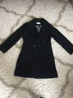 Calvin Klein Long Black Double Breasted Wool Blend Coat Size Women's 10