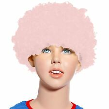80s Curly Afro Wig Party Clown Funky Disco Kids Childs Adult Costume Pink Hair