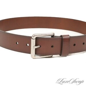 LNWOT Anonymous Thick Wide Burnished Edge Leather Silver Buckle Belt NR M #9