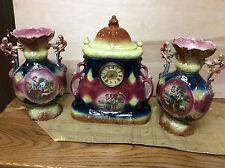 Hamburg Amerika Ceramic Mantel Clock with Matching Vases