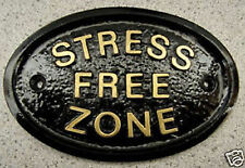 STRESS FREE ZONE HOUSE DOOR PLAQUE SIGN HEAD WORK HOME