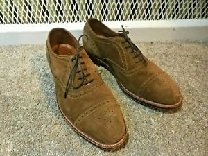 Alden X Leffot 51670 Medallion Tip Bal Snuff Suede Cap Toe Oxfords Brown Shoes 9