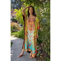 Winlar Jeweled Print Vine V Neck Short Kaftan One Size Fits Most Polyester