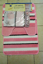 15PCS SEASHELL PINK WHITE BATHROOM BATH MATS SET RUG CARPET SHOWER CURTAIN