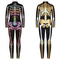 Kinder Jungen Mädchen Halloween Skelett Schädel Jumpsuit Overall Karneval Kostüm