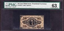 US 10c Fractional Currency Red Back FR 1251 PMG 63 Ch CU