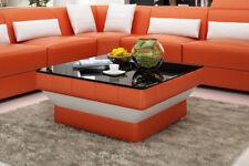 Design Glastisch Leder Couch Tisch Tische Glas Sofa Wohnzimmertische  CT9008o