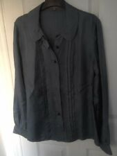 *Jigsaw 100% Blue / Grey Silk Shirt Top Size 10 Excellent Condition