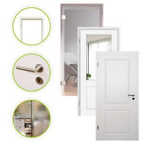 HORI Zimmertür Estella Innentür Komplettset Weißlack Tür mit Zarge Glas Türgriff