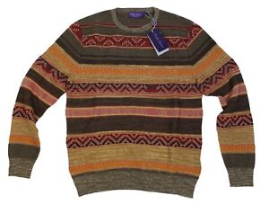$1,695 Ralph Lauren Purple Label Cashmere Silk Wool Southwest Crew Neck Sweater