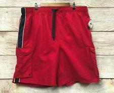Swim Beverly Hills Polo Club Mens 3X Red & Blue Cargo Swim Trunk Shorts New