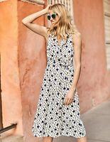 BNWT Boden Nancy Linen Midi Dress - Ivory Spotty Bloom UK 14 R RRP £130