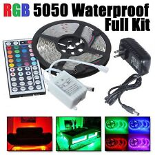 5M 5050 RGB Waterproof LED Strip light SMD 44 Key Remote 12V US Power Full Kit