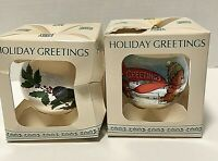 Vintage Holiday Greetings Silk Ball Christmas Ornament December's Song Set of 2