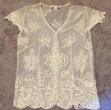 Womens Banana Republic Sheer Lace Embroidered Button Down Short Sleeve Top M