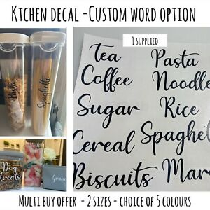 Kitchen Pantry VINYL DECAL label stickers for Jars /Containers/Tubs - Mrs Hinch