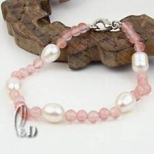 AU SELLER Lovely Geniune White Pearls&Natural Watermelon Quartz Bracelet b034-7