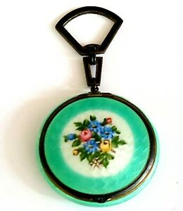 Antique Foster & Bailey Sterling & Green Guilloche Enamel Compact with Handle.