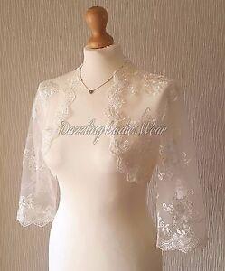 Ivory Embroidered Lace Bolero 3/4 sleeves Jacket/Wedding/Stole/Wrap/Shrug Bridal