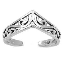 100% Solid 925 Sterling Silver Celtic Wishbone Chevron Adjustable MIDI Toe Ring
