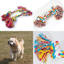 New Dog Puppy Pet Cotton Tough Braided Bone Rope With Knot Chew Toy War Play