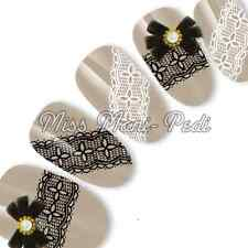 Nail Art Water Transfers Decals Stickers Lace Ribbon Black & White Bands S033