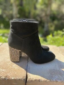 Michael Kors Women's short booties boots suede leather size 7.5 with rhinestones