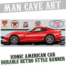 1997 dodge viper gts red car mural garage scene printed banner sign art bnd2