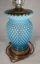 1940-50s Electric Lamp Fenton Blue Opalescent Hobnail  & Original Finial Pretty
