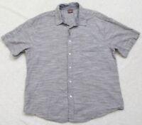 Great Northwest Dress Shirt XL Button Front Short Sleeve Gray Cotton Solid Men's