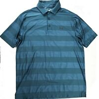 Under Armour Heatgear Loose Fit Mens Size Large Blue Short Sleeve Polo Shirt
