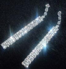 *LONG 2 ROW DROP DIAMANTE/DIAMONTE EARRINGS CRYSTAL NEW PROM WEDDING STRAIGHT